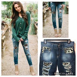 JUST CAVALLI Cheetah Distressed Bootcut Jeans